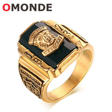 OMONDE Mens Fashion Jewelery Gold Color Stainless Steel Walton Tigers Head Ring 1973 Army Finger Rings for Men General Soldier(China)