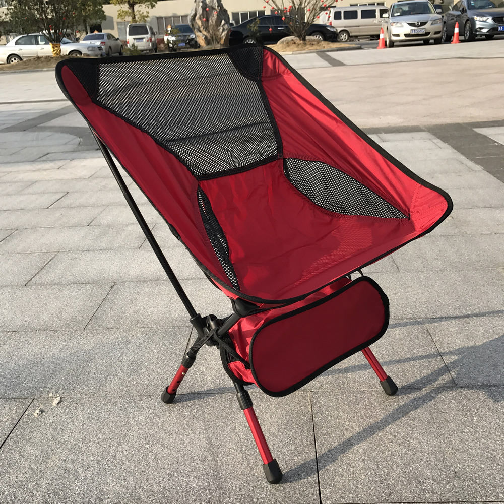 Red Fishing Chair Lift Chair Aerospace Aluminum Ultralight Fishing Chair Portable Folding Stool Reinforced Specials Load 150kg<br>