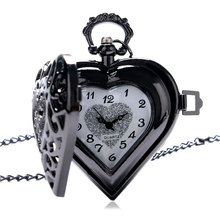 Luxury Black Hollow Heart Design Fob Pendant Pocket Watch With Necklace Chain Gift To Men Women