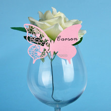 Wedding Table Place Cards for Party Wedding Favors and Gifts Decoration 120PCS Pink Laser Cut Butterfly Wine Glass Place Cards