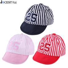 Baby Hat Cute Kids Baseball Cap Girl Boy Sun Hat Infant Cotton Striped Letter Print Sports Cap Summer Mesh Caps Girls Visors(China)
