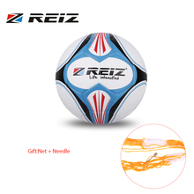 REIZ Premium Leather Football Official Size 4 Soccer Ball Matching Color Decorative Pattern Ball With Free Net Needle