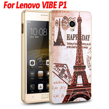 For Lenovo VIBE P1 Case Luxury Mirror Cover Metal Aluminum Bumper Frame Case For Lenovo VIBE P1 P1c72 Gold Plated PC Back Cover(China)