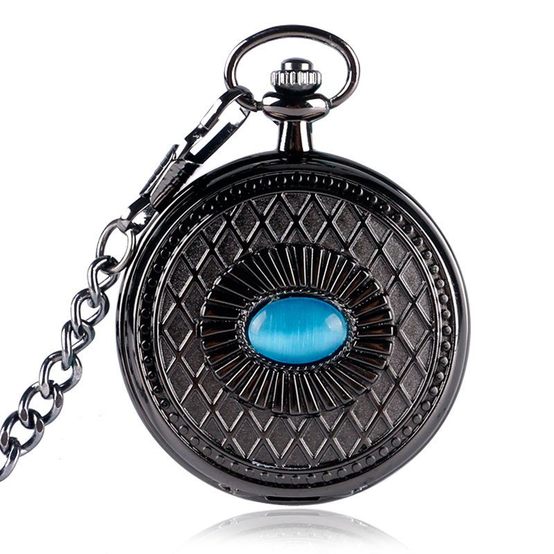 Exquisite Blue Eye Pocket Watch Women Chinese Style Roman Numerals Mechanical Hand-winding Plaid Pendant Watches Men P2011C<br><br>Aliexpress
