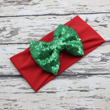 Christmas Big Bow Headband Red White Green Girls Headband Sequin Bow Jersey Knit Headwrap Girls Hair Accessories(China)