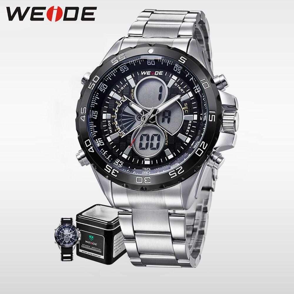 WEIDE genuine luxury Brand Sport Watch Men analog Quartz Movement digital Water Resistant Stainless Steel Strap Alarm Clock 1103<br>