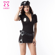 Corzzet Halloween Sexy Costume Police Women Black/Blue Waist Belt Uniform Plus Size Women Clothing Police Cospaly(China)