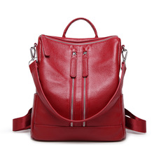 The first layer of cowhide ladies backpack leather 2016 Winter new simple female bag leisure business female backpack