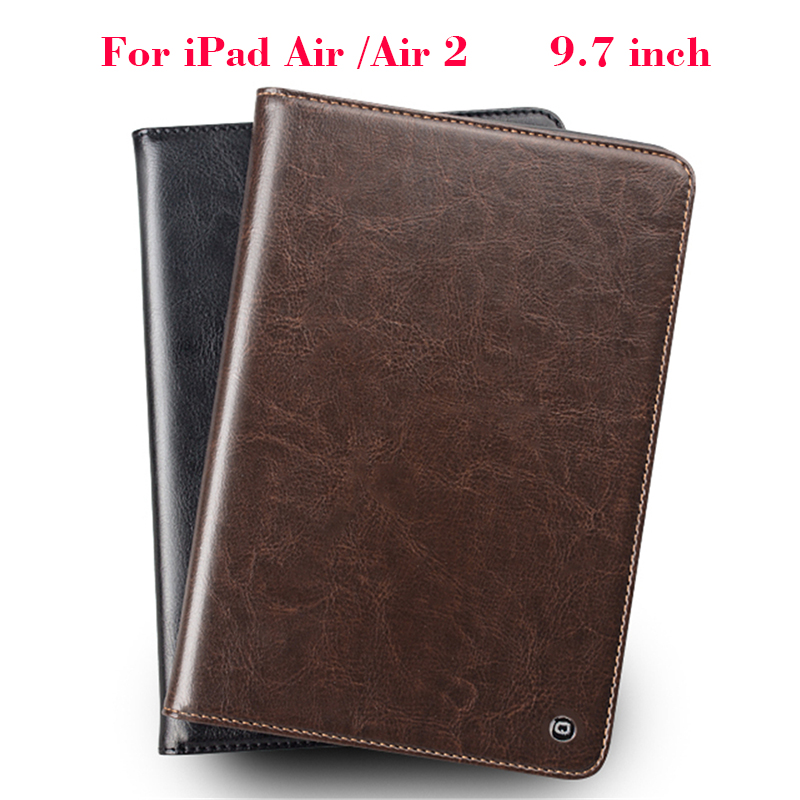 For iPad Air 2 Real Genuine Leather case ultra-slim Wallet Stand case Cover Shell For Apple iPad Air/Air 2 Protective Stand Skin<br>