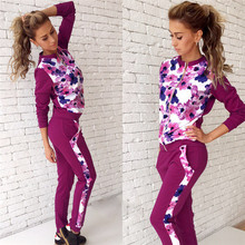 New 2016 Spring Autumn Casual suit Women Clothes Sets Long Sleeve Tracksuits Print 2 Piece Set Women tracksuits Suit