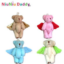 6cm Christmas angel joint bear with 4 colors Plush toys wholesale 40pcs/lot