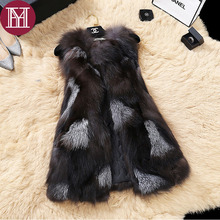2017 New brand Women real fox fur coat lady casual natural fur vest  female fashion genuine fur gilet