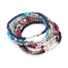 4MM Cube Silver Metal Beads with Semi precious stone Stretch Colorful Bracelet For Both men and women