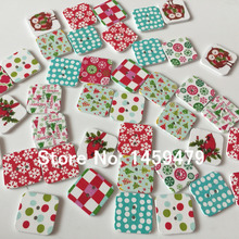 2017 New Product 50Pcs 25mm Random Mixed Colors Hand Made 2 Holes Sewing Christmas Square Wood Buttons Garments Ornament(China)
