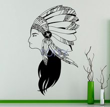 Native American Girl Wall Vinyl Decal American Indian Wall Sticker Wildlife Home Interior Bedroom Removable Decor Graphics Mural(China)