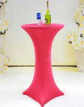 Free Shipping 10pcs Cheap Fuchsia Lycra Spandex Cocktail Table Covers Wedding Bar Elastic Stretch Table Covers