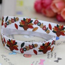 5/8'' Free shipping Fold Over Elastic FOE thanksgiving day turkey printed headband hair band diy decoration wholesale OEM B275