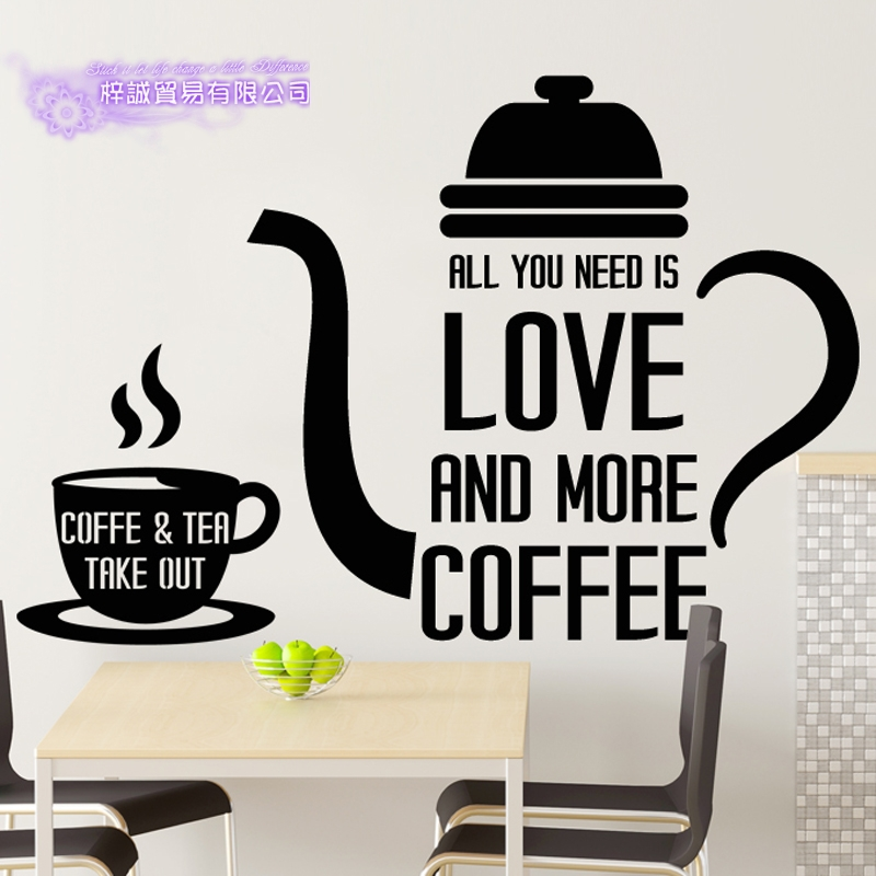 DCTAL Coffee Sticker Letter Decal Cafe Poster Vinyl Art Wall Decals Pegatina Quadro Parede Decor Mural Coffee Sticker