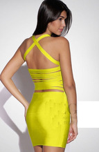 New Arrival Hot Sell Bandage Dress Yellow Color Cut Out Sexy Low Back Girls Night Club clothing Celebrity Summer HL 1248