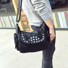 2017 new fashion Bag Women Shoulder Crossbody Bags Women's soft PU Handbag shoulder rivet daily casual bag
