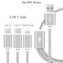 Nylon 3 IN 1 Type C Micro USB Fast Charging Data Cable Charger Cable For HTC 10 evo Cable