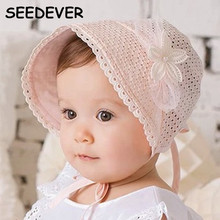 Baby Hat Summer Breathable Floret Court Hat Children New Lace Floral caps Short Brim Hat Shading BA61 Newborn Photography Props(China)