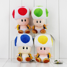 "17CM Super Mario Mushrooms Toad Plush Toys Stuffed Animals Kids Gift Dolls 7""(China)"