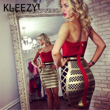 Summer Brand New Dersses Top Quality Elegant Red And Gold Patchwork Sexy Prom Celebrity Party Women Bandage Dress 1733(China)