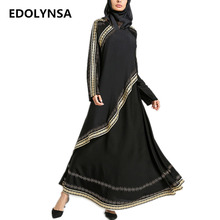 Different Patchwork Muslim Abaya Dresses With Scarf Chiffon Dubai Abaya Plus Size Kaftan Maxi Dress Long Womens Clothing #D348(China)