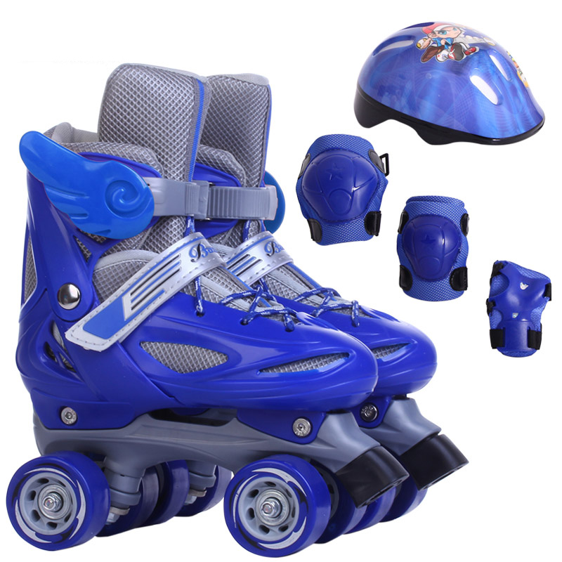 Skates 4 wheels skates quad Children 4 wheel roller skates for kids double rollers skates line roller shoes head/shin guards<br><br>Aliexpress