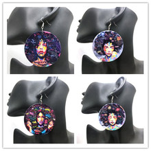 5pairs/lot Printing American african girl Wooden Earrings(China)