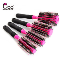 Pink Wooden Hair Brush With Boar Bristle Mix Nylon Styling Tools Professional Round Hair Brush Hair Comb