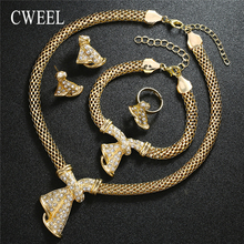 CWEEL Ethiopian Jewelry Sets For Women Nigerian Beads Necklace Jewelry Set Statement Gold Color Party Costume Jewellery Sets