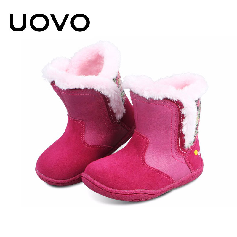 Uovo Toddler Short Boots For Baby Girls Kids Soft Light Warm Appliques Ankle Boots PU+Suede Leather Shoes Winter Botas Ninas<br><br>Aliexpress