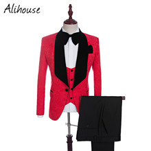 Groom Tuxedos Groomsmen Red/White/Black/Royal Blue Shawl Lapel Best Man Suit Wedding Men's Blazer Suits Custom Made Men Tuxedos(China)