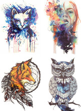 Save More! 4PCS/SET Hot Sale Combo Cat Girl Fox Owl Temporary Tattoo Combo(China)