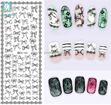Rocooart DS108 Nail Water Transfer Nails Art Sticker Gray Bowknots Elements Nail Wraps Sticker Tips Manicura nail supplies Decal