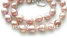 "$wholesale_jewelry_wig$ free shipping ""Edison pearls"" 12mm lavender natural SOUTH Reborn keshi pearls necklace"