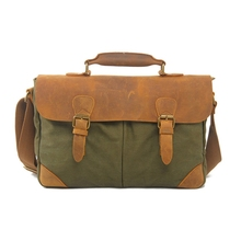 Canvas cowhide gennuie Leather Retro Messenger Shoulder Hand Briefcase tote bag khaki brown laptop computer school book travel(China)