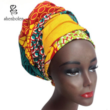 Kente head wrap African lady Scarf kerchief ankara wax fabric Traditional dashiki printing shenbolen pure cotton 70 inch*20 inch(China)