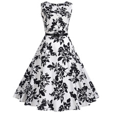 Buy Sexy Floral Vintage Party Dress Casual Summer Dress Women 2018 Elegant 50s 60s Retro Swing Plus Size Vestidos Tunic Belt for $9.27 in AliExpress store