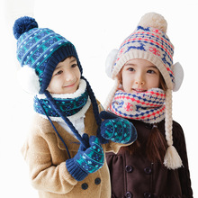 Children hats scarf gloves three - piece warm autumn winter boys girls baby caps collars sets tide kids beanies wear suits free(China)