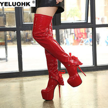 Winter Sexy Patent Leather Extreme High Heels Over The Knee Boots Fashion Platform Shoes Woman Thigh High Boots Stilettos Pumps