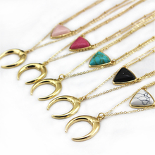 free shipping New American fashion Jewelry White Marble Inlaid women gold Necklace girl gift black stone necklaces(China)