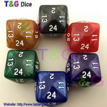 Dungeons and dragons, world of Warcraft game table 24 sided dice,24 face dice,dnd game D24 dice 6pc/lot