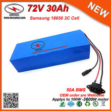 Professional Battery Manufacturer 20S10P 72V Lithium Battery Pack 30Ah Built in Samsung 18650 50A BMS for 3000W 3600W Scooter(China)