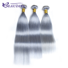 Buy BEAUDIVA Pre-Colored T1B/ Gray Color Remy Hair Straight 3 Bundles Lot Ombre Human Hair Extensions Weave Bundles for $121.63 in AliExpress store