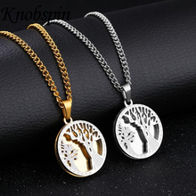 High quality Men's Necklace Stainless Steel Gold color Hollow out life tree Pendant Choker for Men Vintage Gothic Bike Jewelry