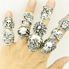 12 Piece/lot Wholesale Mix Big Skull Ring in Jewelry Silver Plate Top Quality Bohemian Statement Punk Ring for Men Free Shipping