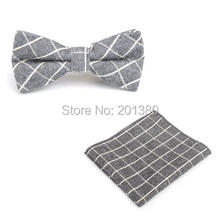 2015 men neck tie set bow ties butterfly pocket square stripe plaid Handkerchief Accessories gift business cotton fashion